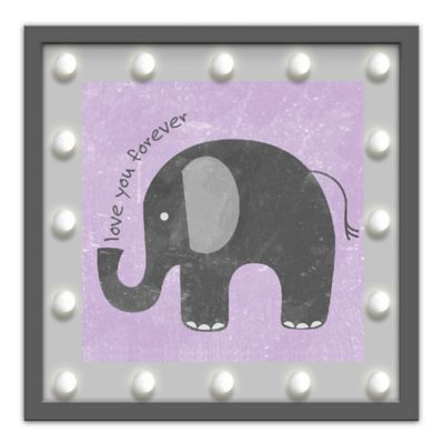 "Design House LA Framed ""Love You Forever"" Elephant Light-Up Sign in Grey"