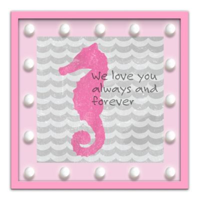 "Design House LA Framed ""Love You Always and Forever"" Seahorse Light-Up Sign in Pink"