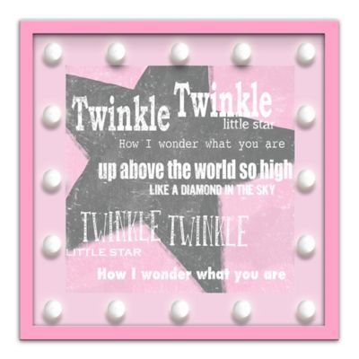 "Design House LA Framed ""Twinkle Twinkle Little Star"" Nursery Rhyme Light-Up Sign in Pink"