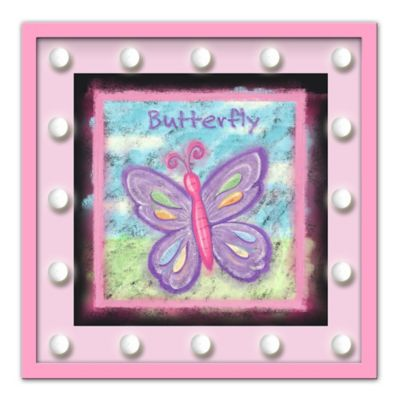 Design House LA Framed Butterfly Drawing Light-Up Sign in Pink