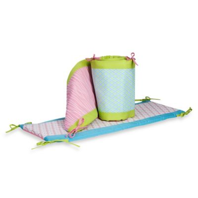 Pam Grace Creations Aqua Peacock 4-Piece Crib Bumper Set