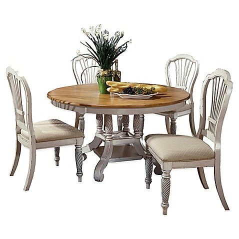 Buy Hillsdale Wilshire 5 Piece Round Dining Set In Antique White From Bed Bat