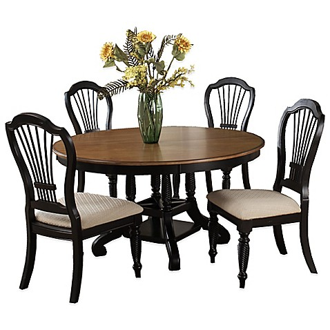 piece round dining set in rubbed black from bed bath beyond