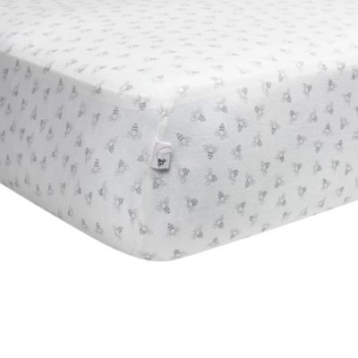 Burt's Bees Baby® Honeybee 100% Organic Cotton Fitted Crib Sheet in Heather Grey