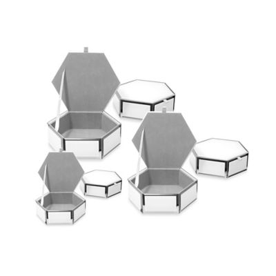 Swing Design® Mia Small Glass Hexagon Storage Box in White