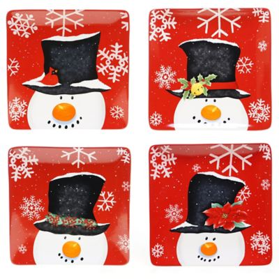 Certified International Top Hat Snowman Assorted 4-Piece Dinner Plate Set