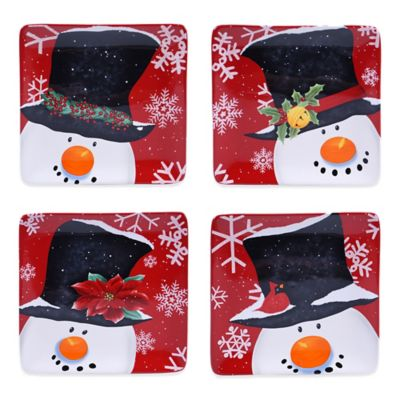 Certified International Top Hat Snowman Assorted 4-Piece Dessert Plate Set