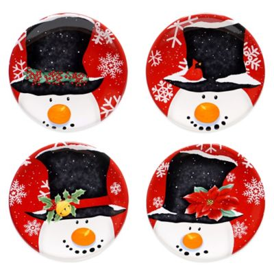 Certified International Top Hat Snowman Assorted 4-Piece Canape Plate Set