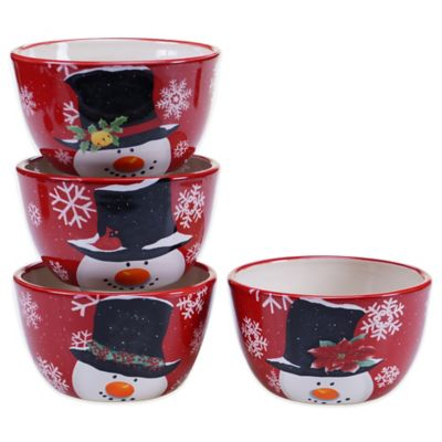 Certified International Top Hat Snowman Assorted 4-Piece Ice Cream Bowl Set
