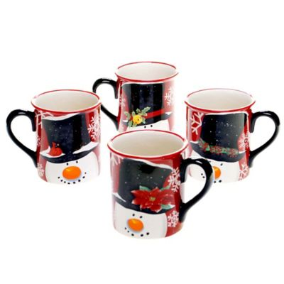 Certified International Top Hat Snowman Assorted Mugs (Set of 4)