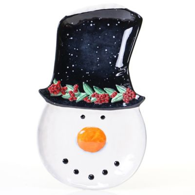 Certified International Top Hat Snowman Ceramic 3-D Platter