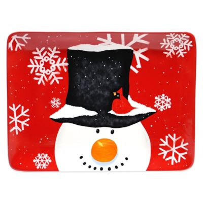 Certified International Top Hat Snowman Rectangular Ceramic Platter