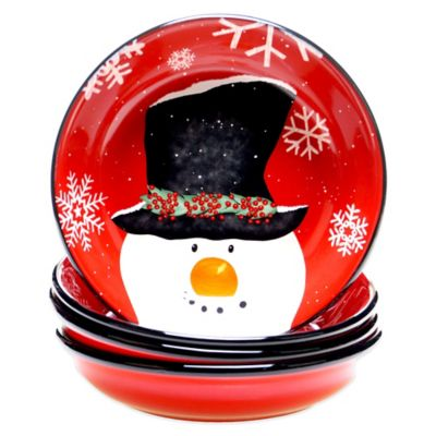Certified International Top Hat Snowman Assorted 4-Piece Soup/Pasta Bowl Set