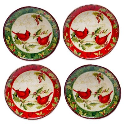 Certified International Winter Wonder Assorted 4-Piece Canape Plate Set