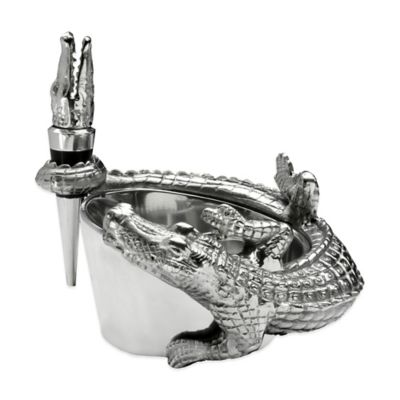Arthur Court Designs Alligator Wine Caddy/Stopper Set