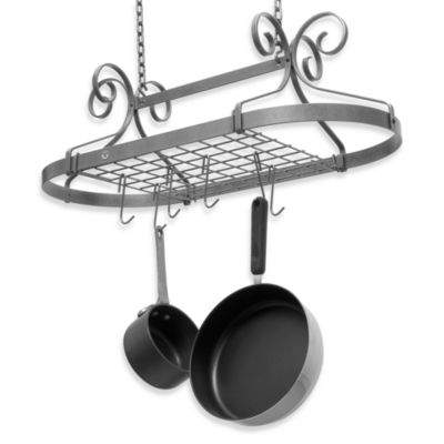 Decor Hammered Steel Oval Pot Rack