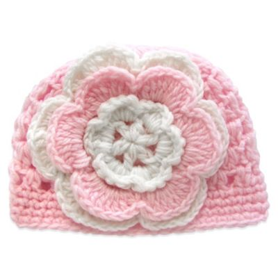 Size 0-6M Crochet Cap with Flowers in Pink