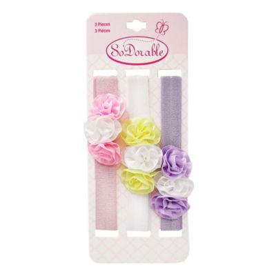 So'Dorable 3-Piece Triple Flower Headwraps