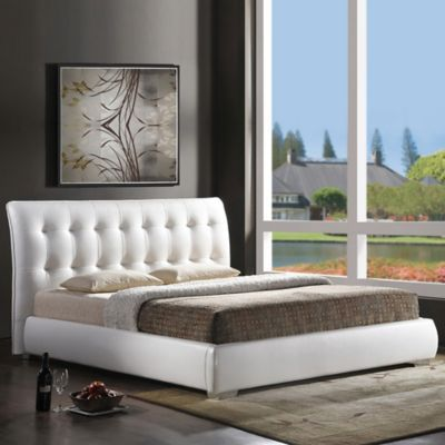 Baxton Studio Jeslyn Queen Designer Bed with Tufted Headboard