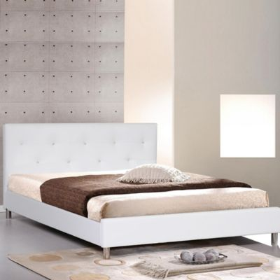 Baxton Studio Barbara Modern Platform Bed with Crystal Button Tufting in White
