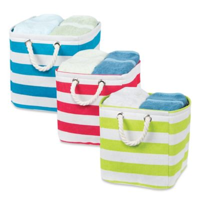 Small Stripe Tote Bin with Rope Handles in Red/White