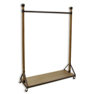 Refined Closet Rolling Garment Rack with Wood Shelf Base