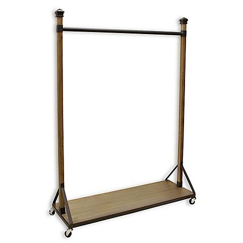 refined closet rolling garment rack with wood shelf base. Black Bedroom Furniture Sets. Home Design Ideas