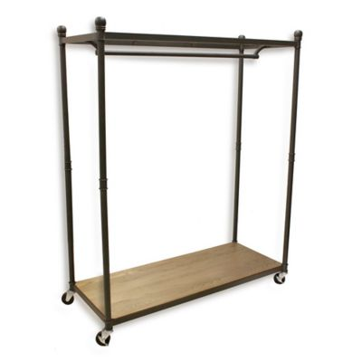 Refined Closet Rolling Garment Rack with Wood Base and Metal Top Shelf