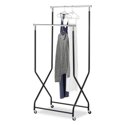 Whitmor 2-Tier Flared Rolling Garment Rack in Black