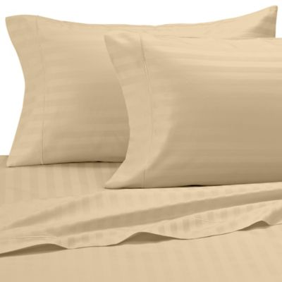 Damask Stripe 500-Thread-Count Egyptian Cotton Queen Sheet Set in Honey