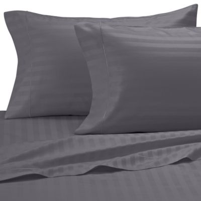 Damask Stripe 500-Thread-Count Egyptian Cotton King Pillowcases in Grey (Set of 2)