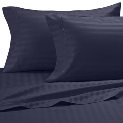 Damask Stripe 500-Thread-Count Egyptian Cotton King Pillowcases in Navy (Set of 2)