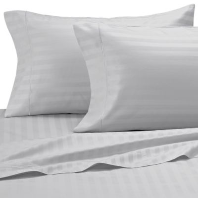 Damask Stripe 500-Thread-Count Egyptian Cotton King Sheet Set in Silver