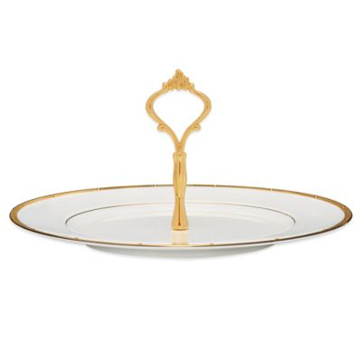 Noritake® Rochelle Gold Handled Hostess Tray