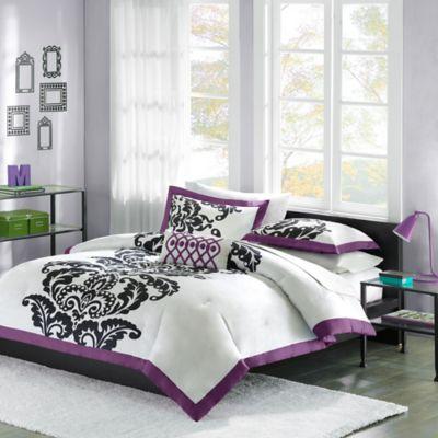 Mizone Florentine Full/Queen Duvet Cover Set in Purple