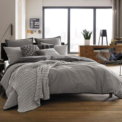 Kenneth Cole Reaction Home Oxford Full/Queen Duvet Cover in Grey Stripe