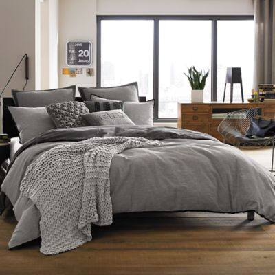 Kenneth Cole Reaction Home Oxford King Bed Skirt in Grey Stripe