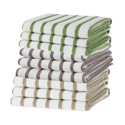 Basket Weave Kitchen Towel in Green (Set of 3)