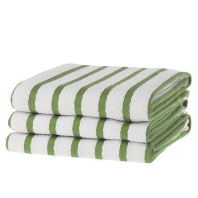 Basket Weave Kitchen Towel in Green (Set of 3)