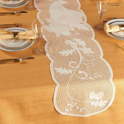 Cornucopia and Leaves 72-Inch Table Runner in Ivory