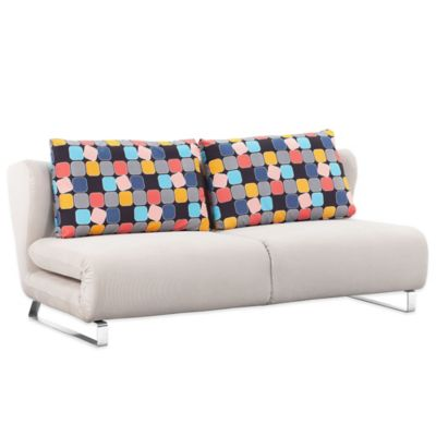 Zuo® Modern Conic Sleeper Sofa in Cowboy Blue with Shadow Grid Back Cushions