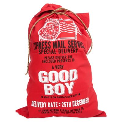 """Good Boy"" Santa Canvas Gift Bag Collection in Red"