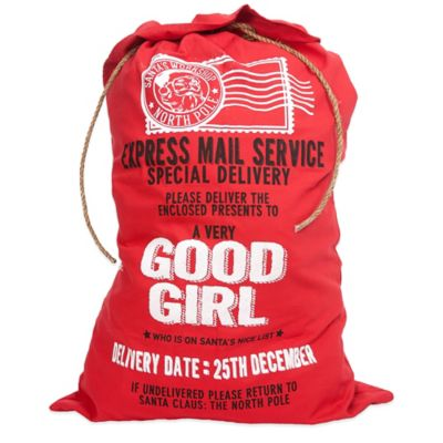 """Good Girl"" Santa Canvas Gift Bag Collection in Red"