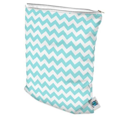 Large Wet Bag in Teal Chevron
