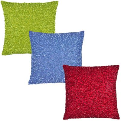 Beaded Square Throw Pillow in Red