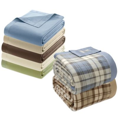 Microfleece Twin Blanket with Satin Binding in Blue Plaid