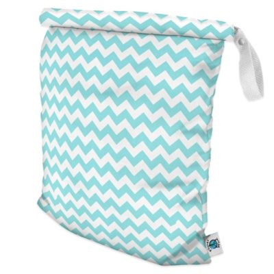 Planet Wise Large Roll-Down Wet Bag in Teal Chevron
