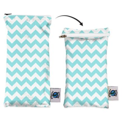 Planet Wise Wipes Pouch in Teal Chevron