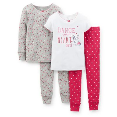 "Carter's® Size 18M 4-Piece ""Dance Your Heart Out"" PJ Set in White"