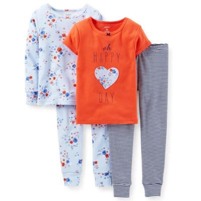 "Carter's® Size 18M 4-Piece Floral ""Oh Happy Day"" PJ Set in Orange"